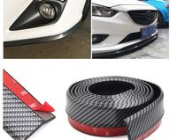 Car head bumper carbon fiber front bumper protector stickers rubber solid anti collision 2.5*0.6M strip covers Styling Mouldings