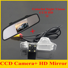 "For 4.3"" HD LCD TFT Mirror Monitor 800*480 + CCD Rear View Camera Case for K2 Rio Sedan Waterproof Night Version"