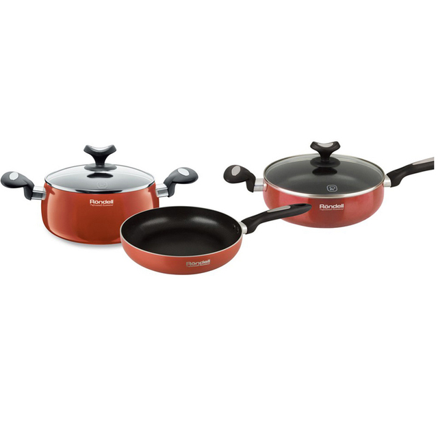 Набор посуды Rondell Koralle 5 предметов RDA-296 (Штампованный алюминий, антипригарное покрытие, подходит для посудомоечной машины)