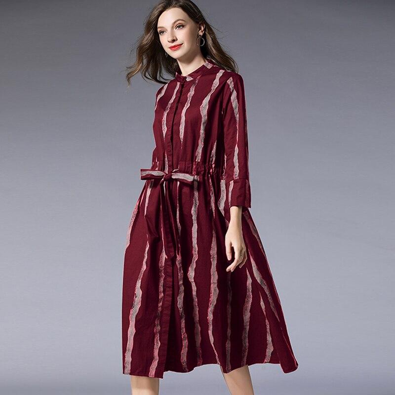 Taille Promo Fit Noir Élégante Nouveau Loose Femelle Cordon Coton Rayures À Col Printemps 2019 rouge Robe Xxxx Chemise Longue Mandarin 6afAqfO