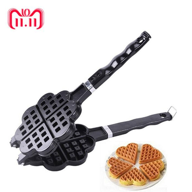 DIY Heart-shaped Egg Waffle Cake Mold Cake Pan Nonstick Double Side Biscuits Muffin Mould Pot Bakeware Baking Tools sp99022 round shape silicone diy mold tray for muffin cake dessert chocolate pudding brown