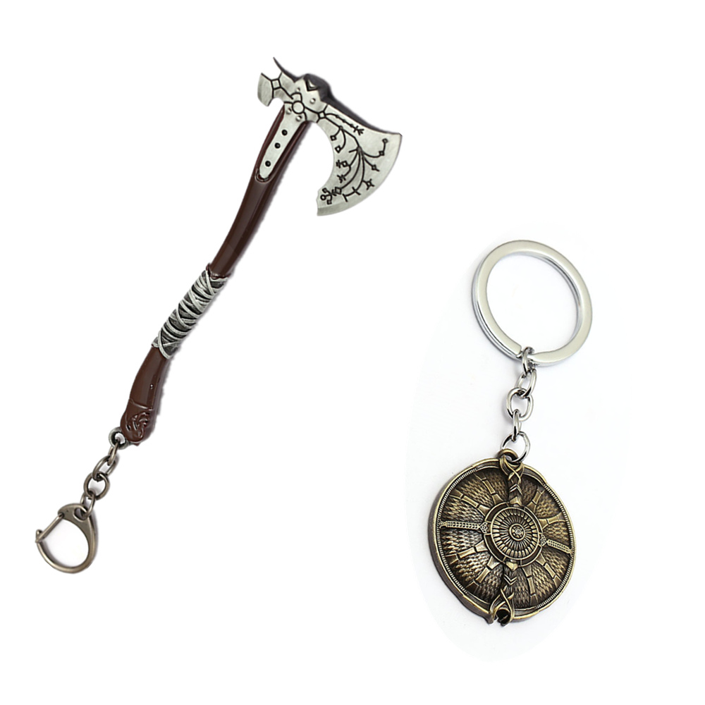 Game God of War Accessory Key Chains Ice Axe Round Geometric Kratos PS4 Shield Pendant Keyring Ornament
