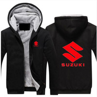 Motorcycle SUZUKI Logo Red Print Jackets Men Thicken Hoodie Riding Clothes Zipper Coat Jacket Fleece Sweatshirt