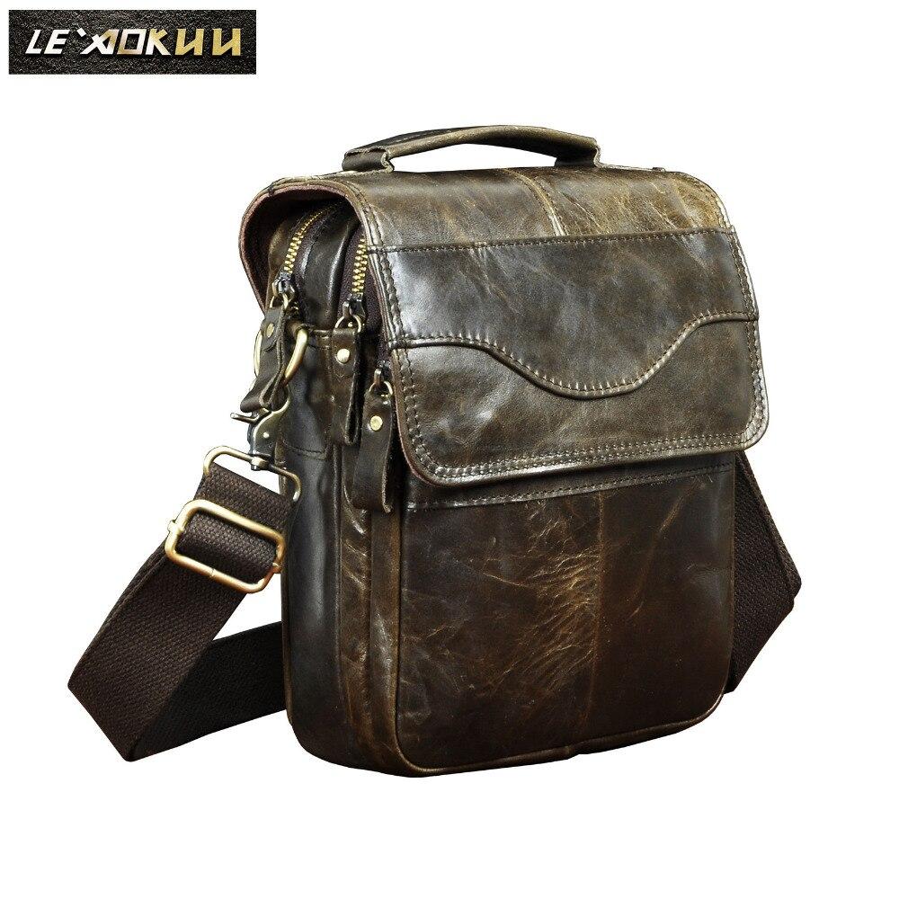 цена на Original Leather Male Fashion Casual Tote Messenger bag Design Satchel Crossbody One Shoulder bag Tablet Pouch For Men 144b