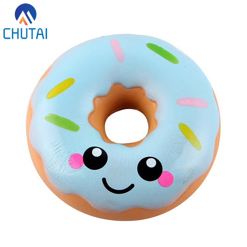 Simulation Donuts Phone Straps Cartoon Smile Face Squishy Slow Rising Anti-strss Photo Props Squeeze Squishy Gift 10*4CM