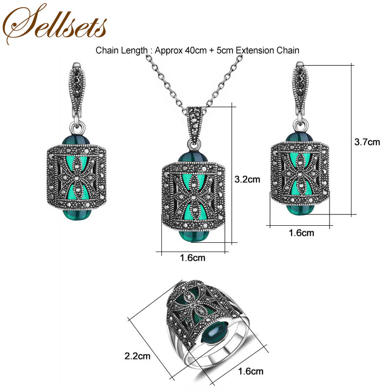 HTB1EwebbsfrK1RjSszcq6xGGFXaj - Sellsets Jewellery Design Black Rhinestone And Green Resin Pendant Necklace Set Antique Silver Color Vintage Jewelry Sets