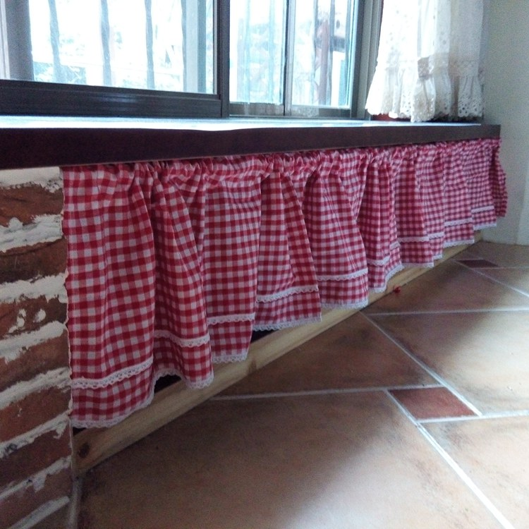 Red And White Plaid Small Short Curtain Semi Shade Coffee Curtain Kitchen Curtain-in Curtains