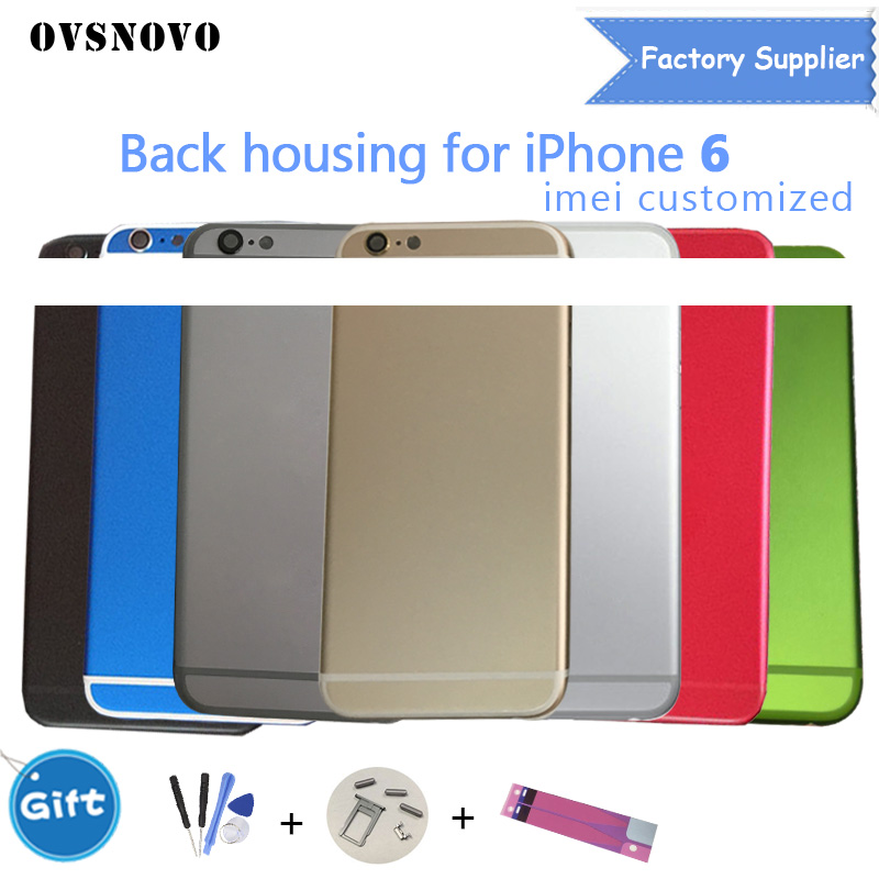 Top Qualität Mittleren Rahmen Chassis Zurück Abdeckung für iphone 6 plus 6 p Batterie Tür Gehäuse Hinten Tür metall Fall mit LOGO Custom IMEI
