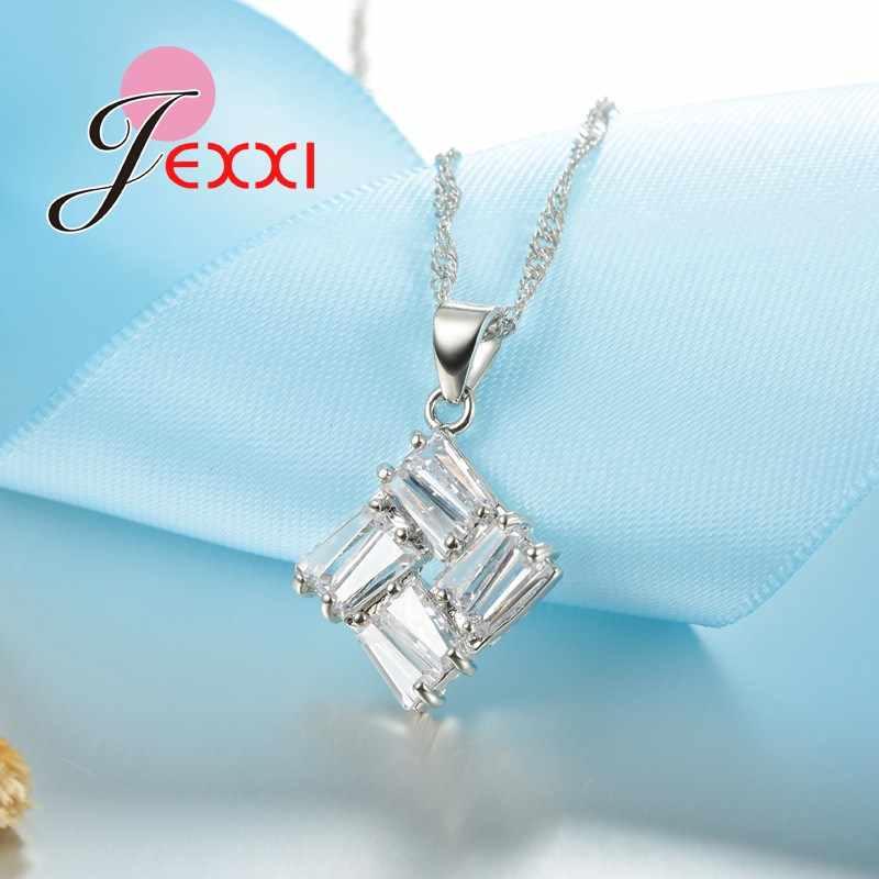 Hohe Qualität Platz Zirkonia Kristall 925 Sterling Silber Anhänger Halsketten Hoop Ohrringe Braut Hochzeit Schmuck Set