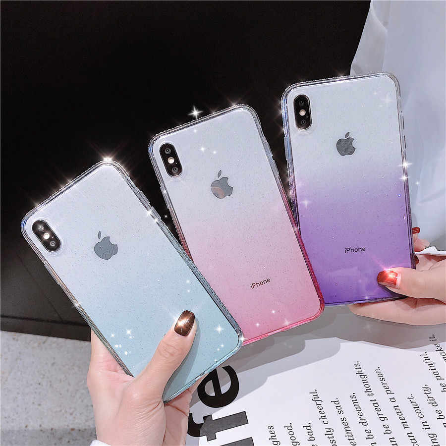 Fashion Diamond Cover Gradient Bling Back Case for iPhone X XR Xs Max Glitter Silicone iPhone 6 6S 7 8 Transparent Cover Cases