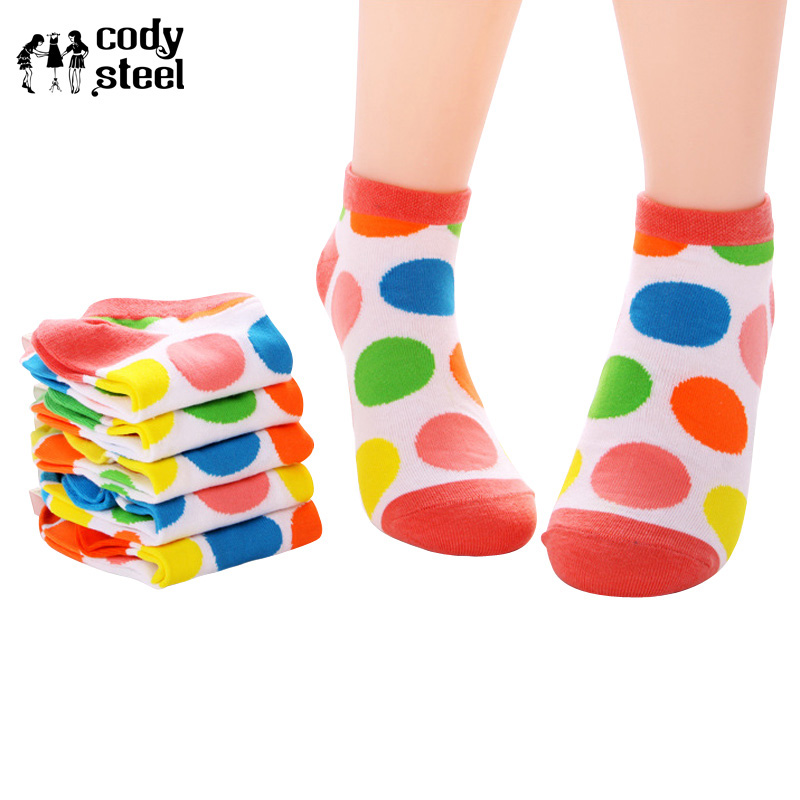 Cody Steel Woman Boat Socks Fashion Big Dot Dot Socks Women Casual All-Match Transparent Socks Women 5pairslot