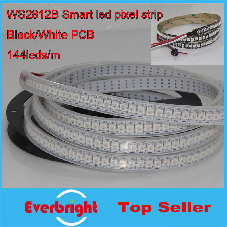 цена на 1m/2m White Black PCB 144Pixel/M WS2812B WS2812 2812 5050 RGB LED Pixel Strips Light Dream Color Waterproof IP67 For Outdoor Use