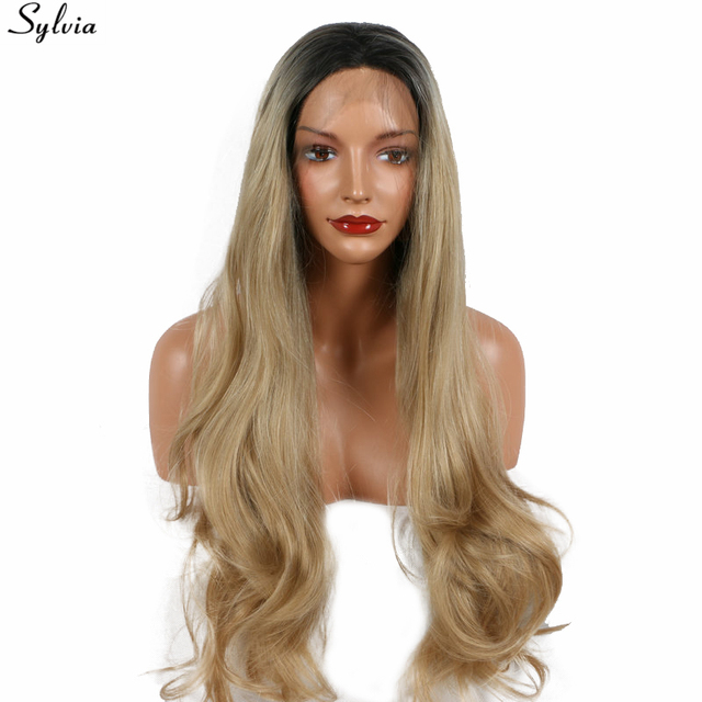 Sylvia Long Platinum Blonde Wig Two Toned Natural Wave Blonde Ombre