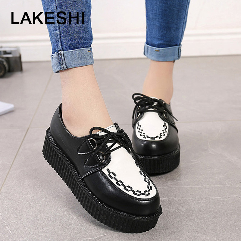 Creepers Women Shoes fashion women Flats comfort Platform Shoes Suede female Shoes Lace Up Round Toe ladies shoes plus Size 41Creepers Women Shoes fashion women Flats comfort Platform Shoes Suede female Shoes Lace Up Round Toe ladies shoes plus Size 41