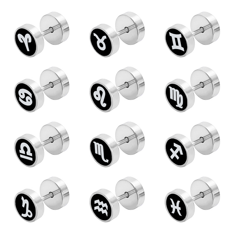 fashion Titanium steel stainless steel round Twelve Constellation Ear Studs personality Stud Earring Jewelry for the man woman