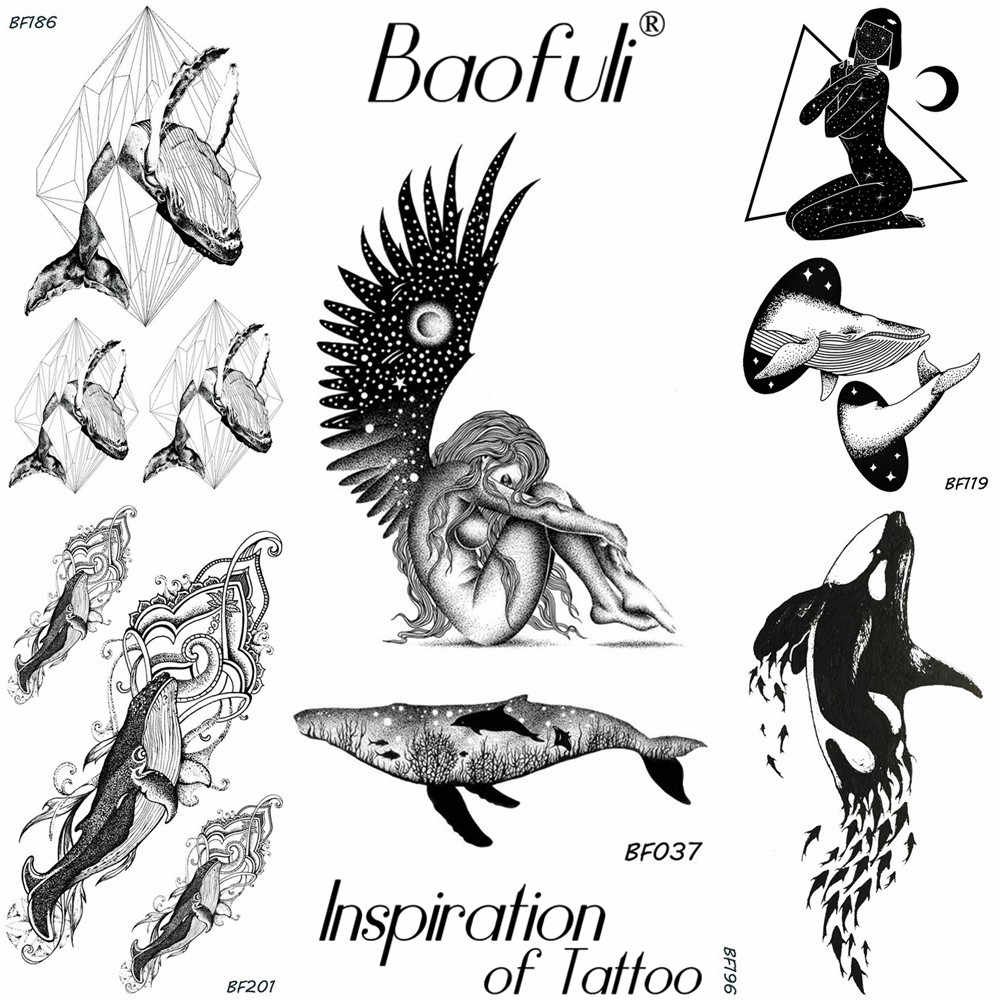 Men body art temporary tattoo stickers solar system planets naked angle whale black tatoos waterproof arm