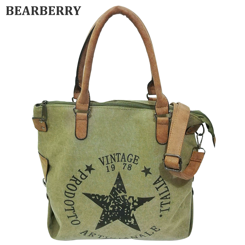 BEARBERRY 2017 high quality printed star letters canvas bags Big Size Multifunctional Travel Shoulder Bag Factory