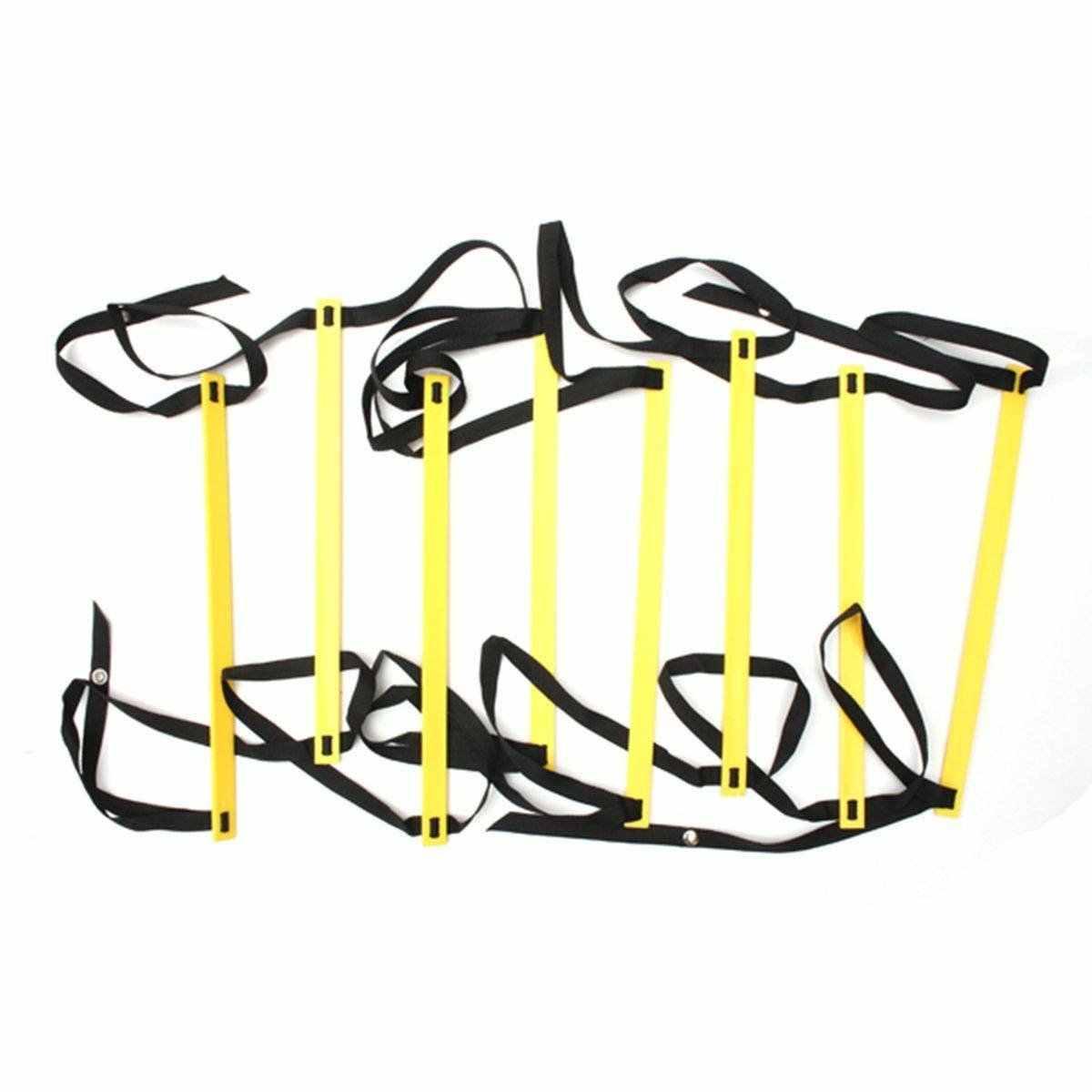 8-Rung 4 м ловкость лестница Координационная лестница для скоростного футбола Футбол фитнес ноги тренировки, желтый + черный