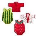 2 unids/set verano Kimono bebé recién nacido ropa fruta fresa sandía mameluco del bebé traje ropa infantil fija al bebé del mono