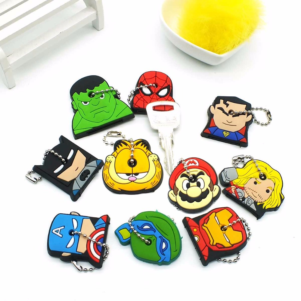 ZOEBER Anime Cartoon Key Cover cute Garfield Owl The avengers alliance hero Keychain Silicone Holder key Ring cat cap chain