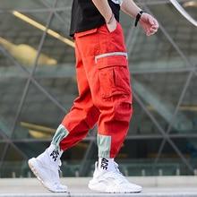 Japanese Style Fashion Men Hip Hop Pants Loose Fit Ankle Banded Jogger Pants Big Pocket Red Green Color Harem Cargo Trousers Men цена