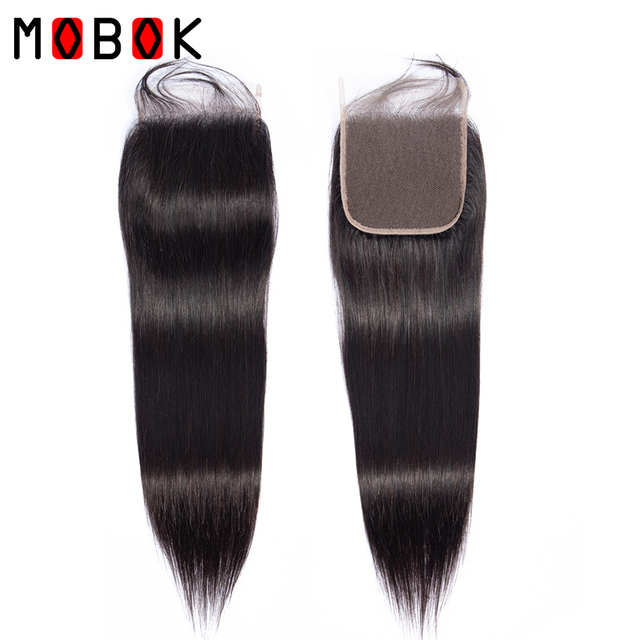 Mobok HAIR Brazilian Lace Closure Straight Hair 4*4 Free/Middle/Three Part Closure 100% Natural Color Remy Human Hair 1 Piece