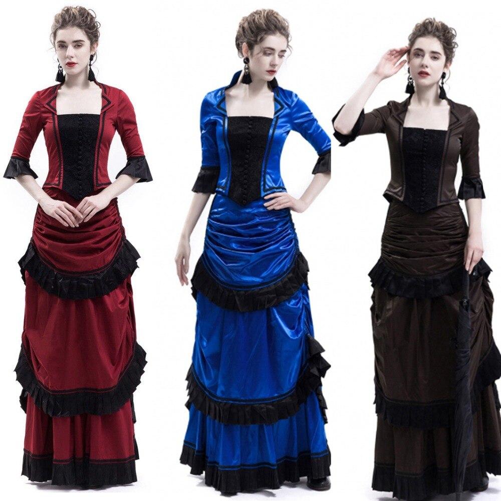 Blue Victorian Bustle Dress Red Victorian Bustle Ball Dress Reenactment Theater Costume Gothic