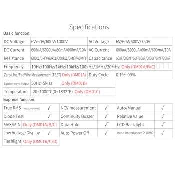 Wielofunkcyjny Inteligentny Multimetr Cyfrowy Odporność Na Pojemność DC/AC NCV True Rms Elektroniczne Narzędzia Do Konserwacji Narzędzi