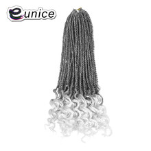 Eunice Synthetic Hair For Braiding 16 Inches Ombre Grey Curly Senegalese Twist Crochet Hair Bundles High Temperature fiber [delice] 16 inches women s high temperature fiber synthetic hair curly ponytail piano color 90g piece