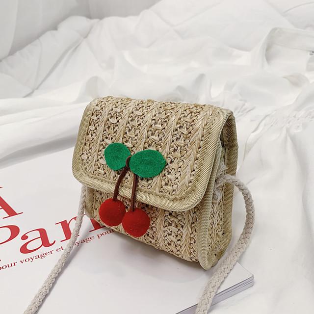 Ladybabag Fashion Children's Fruit Shoulder Messenger Cute Weaving Bag For Girls woven straw bags summer bags bolsa feminina