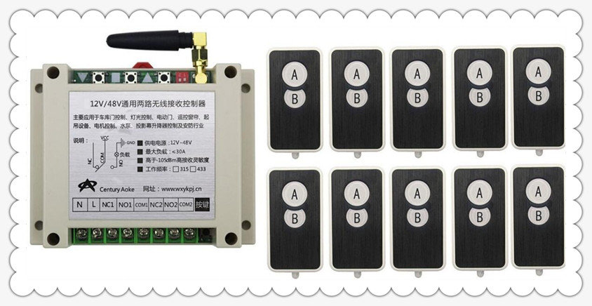 DC12V 24V 36V 48V 10A 2CH RF Wireless Remote Control Switch System 10 transmitter and 1 receiver universal gate remote control dc12v 2ch rf wireless remote control witch 10 cat eye transmitters and 1 receiver universal gate remote control radio receiver