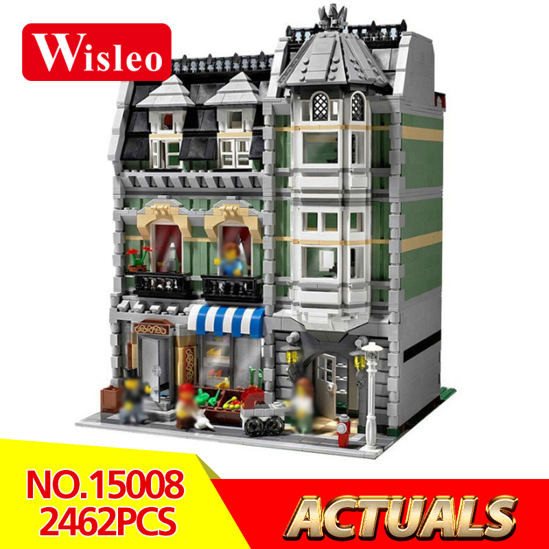Wisleo 15008 2462Pcs City Street Green Grocer Creators model Buildings Kits Blocks Bricks toys for chilren gift LegoINGlys 10185 lepin 15008 new city street green grocer model building blocks bricks toy for child boy gift compatitive funny kit 10185 2462pcs