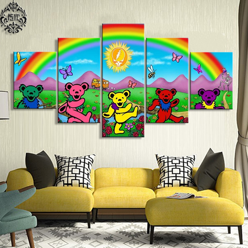 Canvas Printed Painting 5 Pieces Grateful Dead Wall Art Poster Home ...