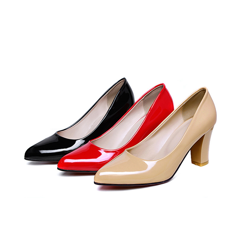 Plus Large Size Spring Office Women Pumps Chunky Block High Heels Pointed Toe Patent Leather Dress Party Summer Red Ladies Shoes plus size 34 49 new spring summer women wedges shoes pointed toe work shoes women pumps high heels ladies casual dress pumps