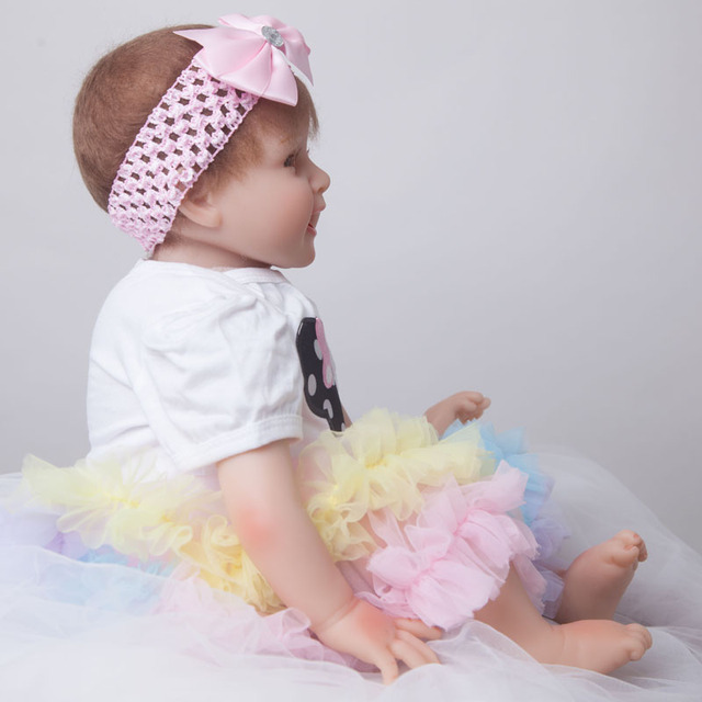 Soft Body Silicone Reborn Baby Doll Toy 55cm Real Touch Vinyl Baby Reborn Newborn Princess Doll