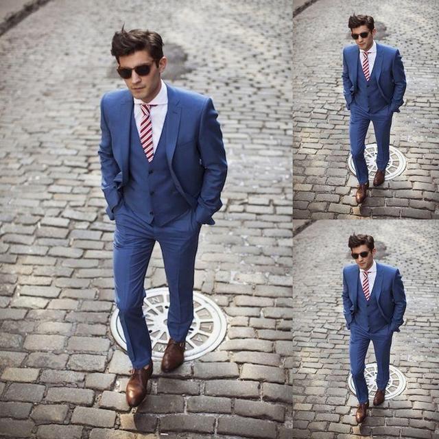 2017 bonito azul escuro custom made ternos de casamento para os homens Do Noivo/Padrinhos Smoking ternos de casamento (Jacket + Pant + colete)