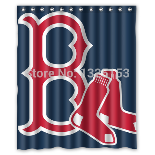 Custom Red Sox Shower Curtain 60 X 72 Inch Bathroom Curtains