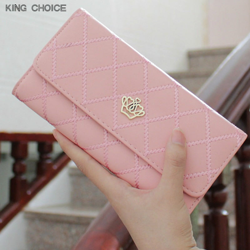 2017 Crown Plaid Long Leather Three Fold Women Wallet Luxury Brand Designer Female Purse For ID Card Holder Phone Bag Day Clutch women lady vintage wallet clutch wallet female case phone money bag blue purse card holder crown embellishment plaid hasp wallet