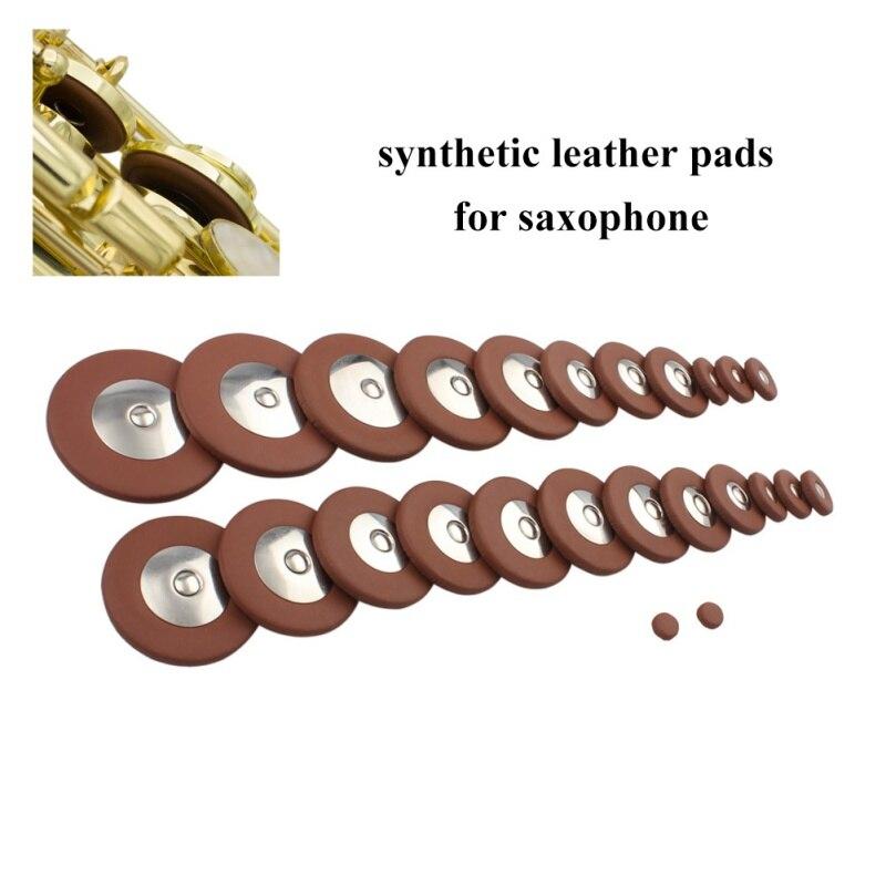 25pcs/Set  Alto Saxophone SAX Replacement Woodwind Brown Fuax Leather Pads Tenor/Alto/Treble