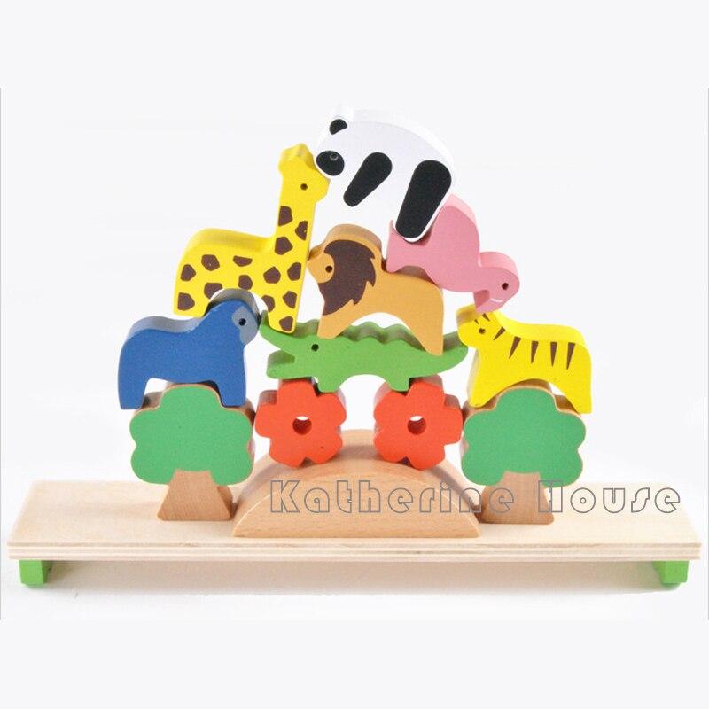 13st Montessori Baby Träbyggnad Djurbalans Byggstenar Färg Creative - Byggklossar och byggleksaker - Foto 3
