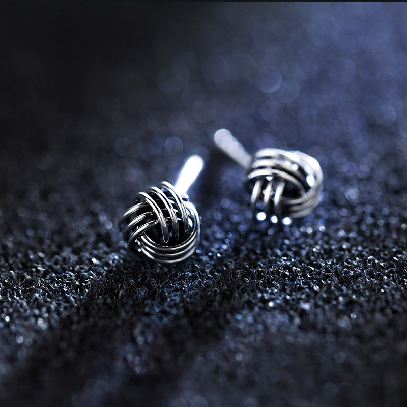 MloveAcc 925 Sterling Silver Vintage Knot Stud Earrings for Men Women Girls Fashion Retro Silver Ear Jewelry