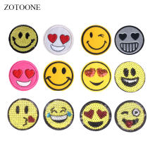ZOTOONE Cute Emjoi Sequin Patches Stickers Iron on Clothes Heat Transfer Applique Embroidered Applications Cloth Fabric G(China)
