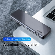 Baseus Gray 5 in 1 Hub Adapter Usb Type C to USB 3.0 * 2 / SD / TF for Macbook Pro Computer Accessory with Type C PD Power