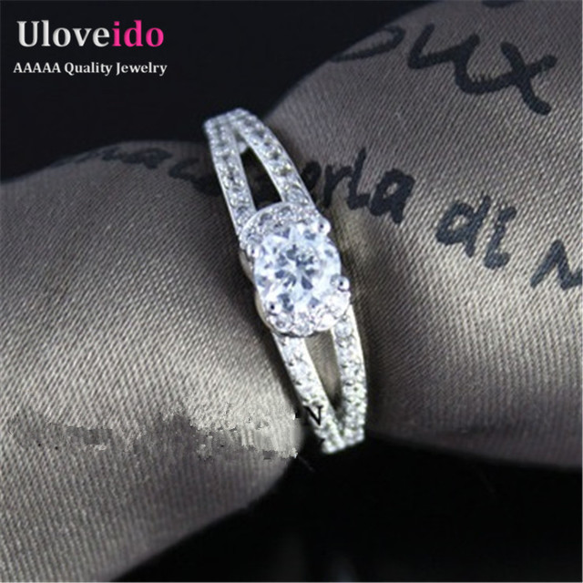 2016 Silver Rhinestones Marriage Double Rows Rings Crystal Jewelry Bijoux CZ Diamond Engagement Women's Ring Female Joias WX025