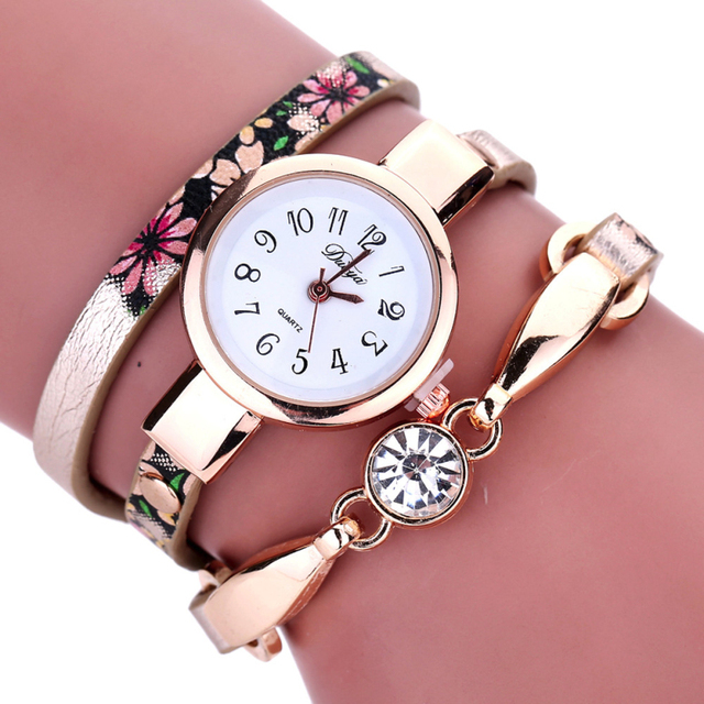 b39af0a6d5a79 Excellent Quality DUOYA New Casual Bracelet watches Fashion Ladies Girls  Women s Diamond Wrap Watch Round Analog quartz watch