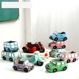 Image 3 - Molde de silicona para hormigón con forma de coche, macetas de resina epoxi hechas a mano, maceta de cemento artesanal