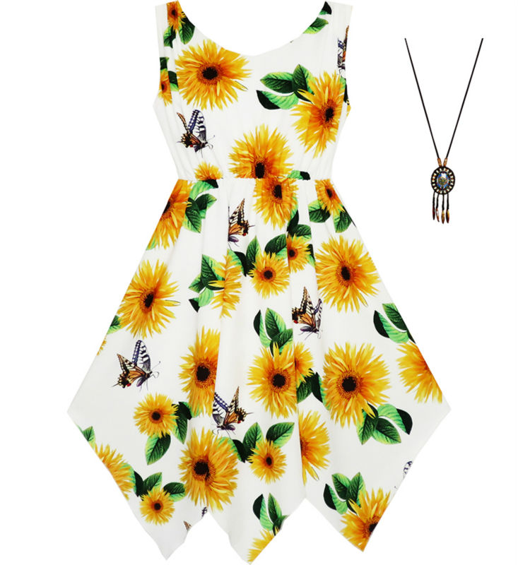 Sunny Fashion Girls Dress Sunflower Butterfly Hanky Hem Party Beach Necklace Sundress 2017 Summer Princess Wedding Size 7-14 abstract print hanky hem cami dress