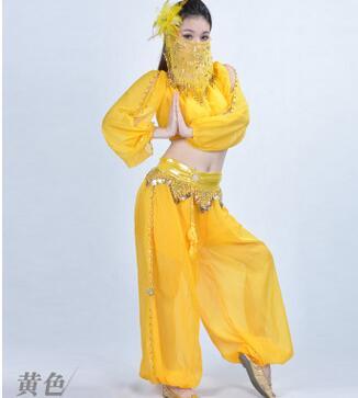 1 Set/partij Vrouw Mode Buikdansen Set Vrouwelijke Chiffon Lantaarn Broek Top En Chiffon Gezichtssluier Dame Prestaties Kleding Elegante Vorm