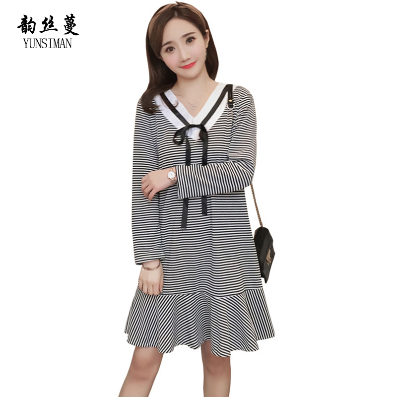 New Pregnant Dresses M L XL XXL Stripe Cotton Big Size Women Knit Dress Maternity Gown for Spring Summer Maternity Clothes 1B05