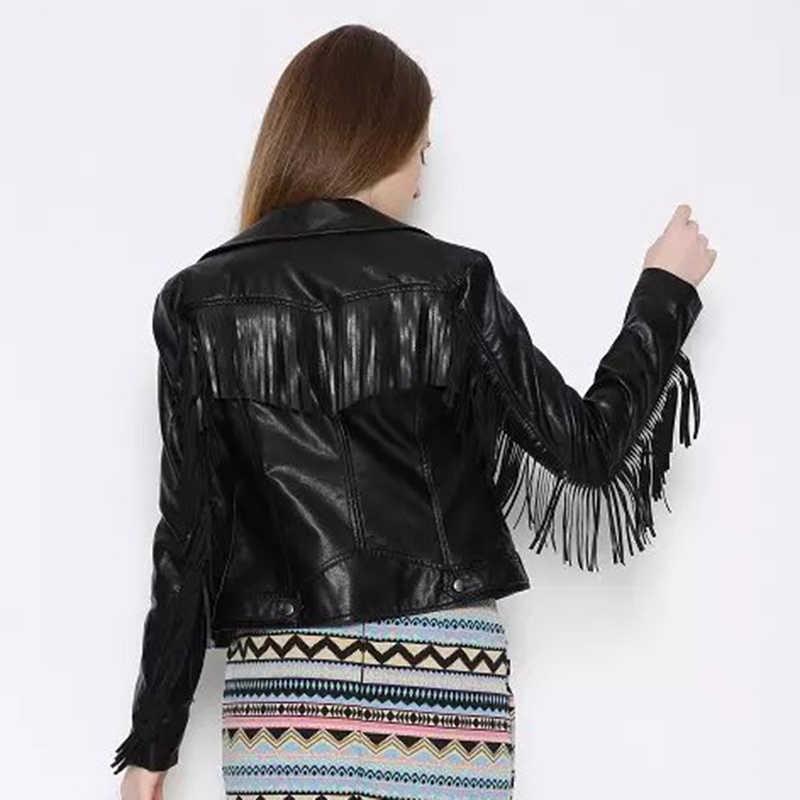 Chic Kwastje Jassen Lente Vrouwen Faux Leather Bomber Jacket Dames Stijlvolle Slim Jassen Vrouwelijke Meisjes Herfst Zwart Fietsers Outfits